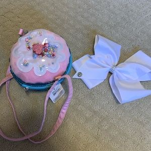 Little girl Cupcake purse and a white JoJo bow